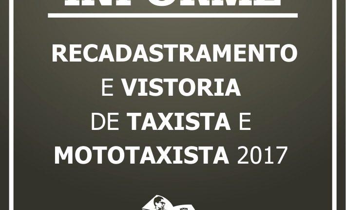 Atenção para a data de cadastramento, recadastramento e vistoria de taxistas e mototaxistas