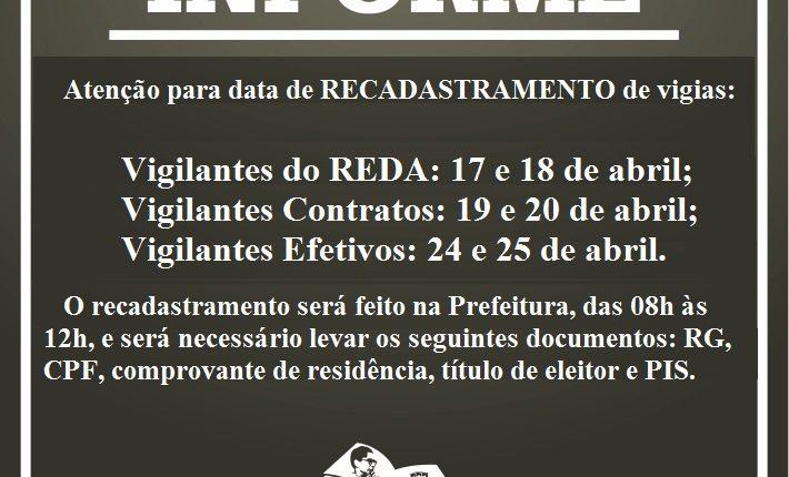 Confira as datas de recadastramento dos Vigilantes Municipais