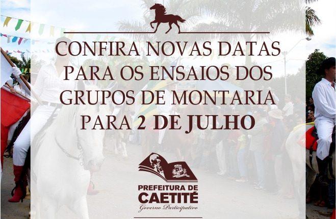 Confira novas datas para os ensaios dos Grupos de Montaria para 2 de julho