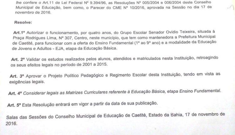 Conselho Municipal de Educação de Caetité autoriza o funcionamento do Ensino Fundamental e EJA no Grupo Escolar Senador Ovídio Teixeira