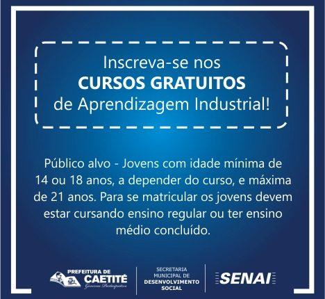 Prefeitura de Caetité oferece cursos de Aprendizagem Industrial Básica