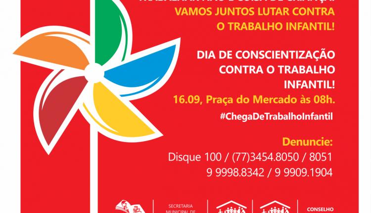 Caetité realizará campanha contra o trabalho infantil neste sábado (16/09)
