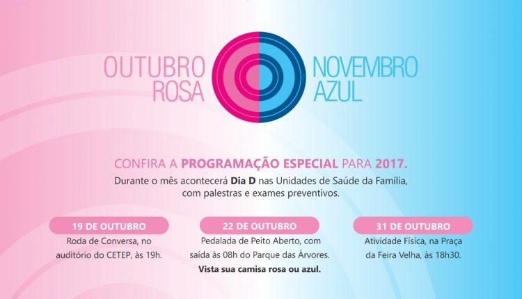 Confira a programação da campanha Outubro Rosa Novembro Azul 2017 em Caetité