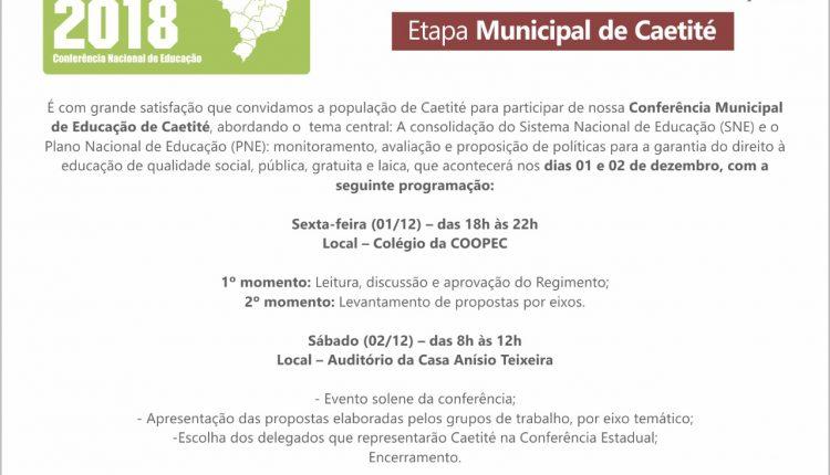 Convite – Caetité realizará Conferência Municipal de Educação