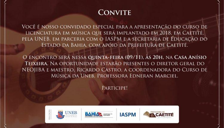 Curso de Música da Uneb será apresentado nessa quinta-feira (09/11)