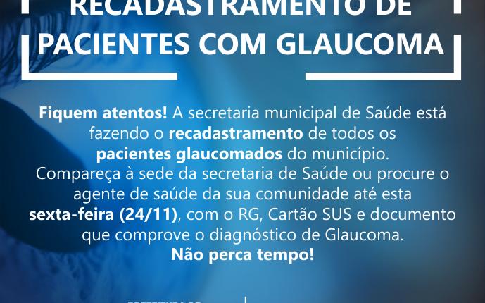Secretaria municipal de Saúde está realizando recadastramento de pacientes com Glaucoma