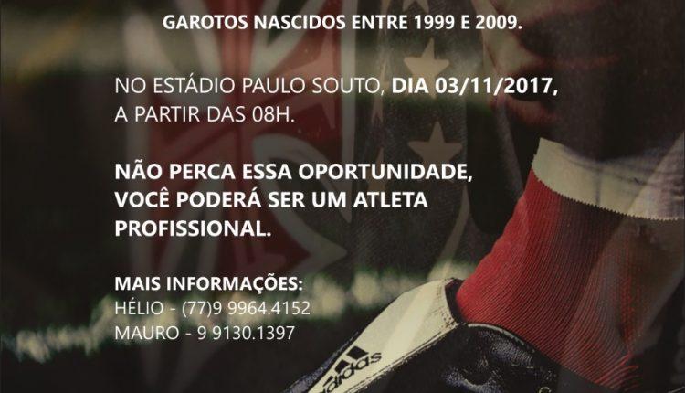 """Observador Técnico do Vasco fará """"peneira"""" em Caetité"""