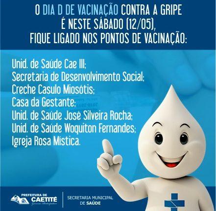Dia D de Vacinação contra a Gripe é neste sábado (12/05) em Caetité