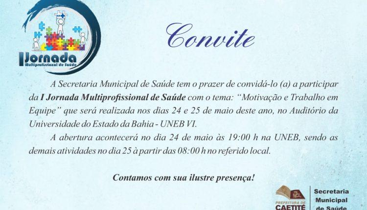 Abertura da I Jornada Multiprofissional de Saúde será na noite de hoje (24/05)