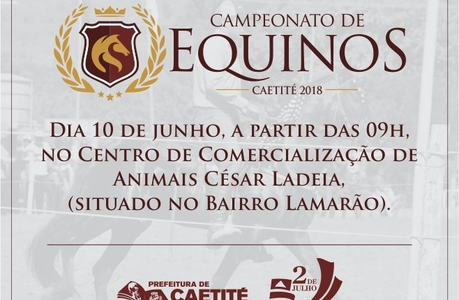 9º Campeonato de Equinos será realizado no próximo domingo (10/06)