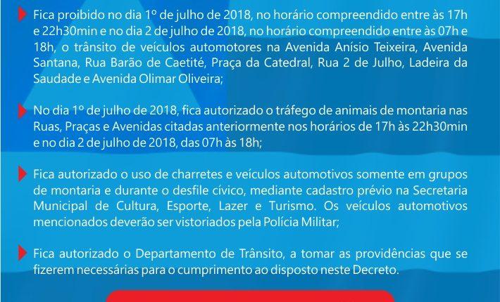 Confira Decreto que Disciplina o Trânsito no 2 de Julho 2018