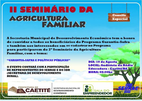 II Seminário da Agricultura Familiar será realizado em Caetité