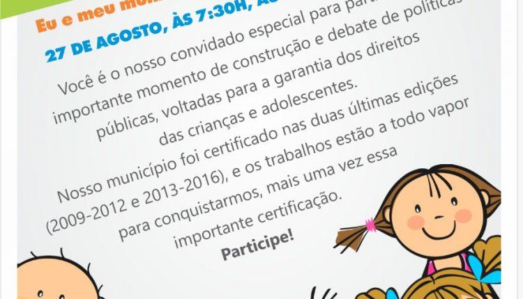Caetité realizará o 1º Fórum de Avaliação Comunitário Selo UNICEF – Município Aprovado, Edição 2017/2020
