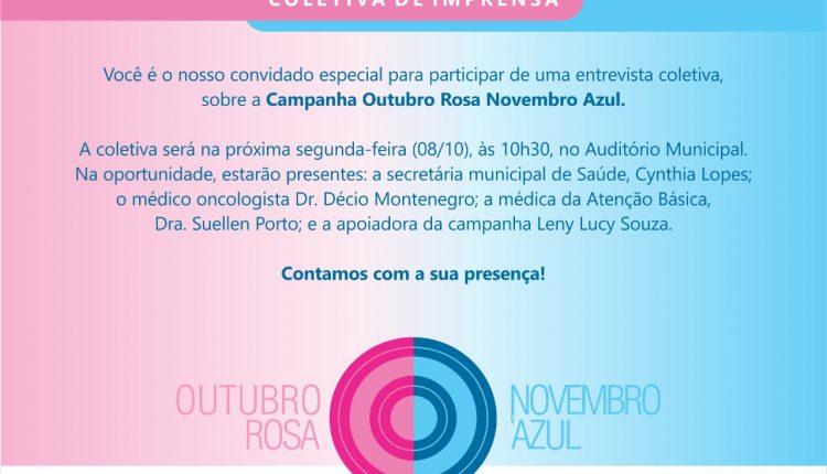 Campanha Outubro Rosa Novembro Azul será lançada na próxima segunda-feira (08/10), com entrevista coletiva