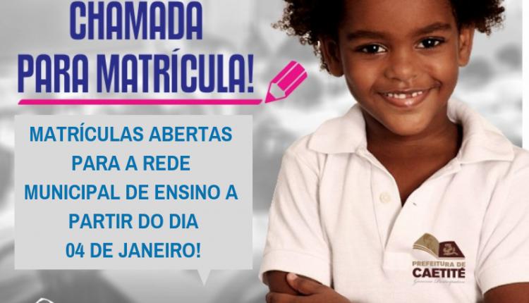 Matrículas da rede municipal de ensino terão início nesta sexta-feira (04/01)