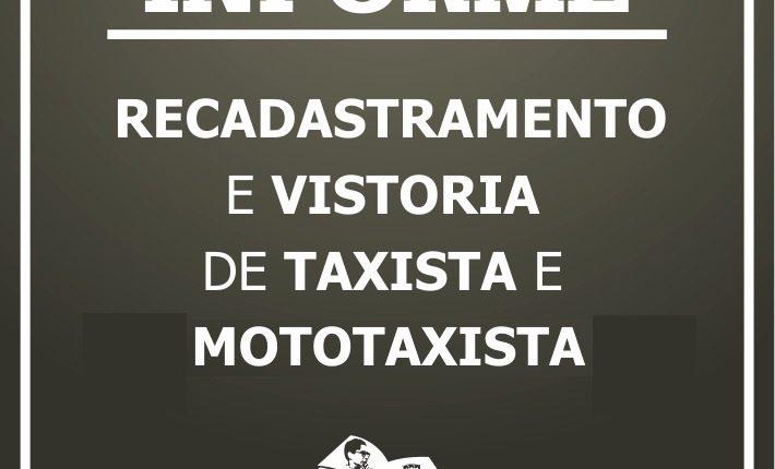 Vistoria anual de moto táxis e táxis de Caetité começa dia 14; veja cronograma de atendimento