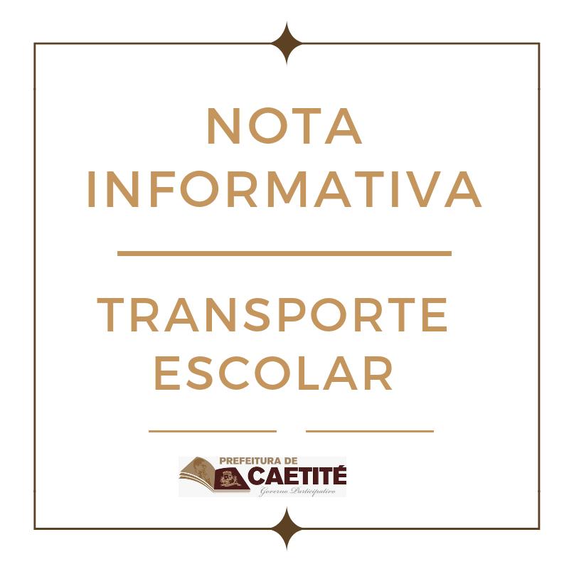 NOTA INFORMATIVA- Transporte Escolar