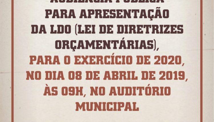 CONVITE: Prefeitura realizará audiência pública sobre a LDO