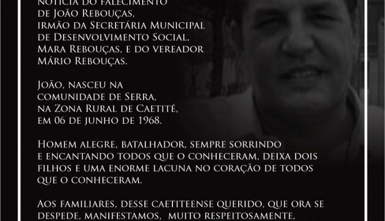 Nota de Pesar pelo falecimento de João Rebouças