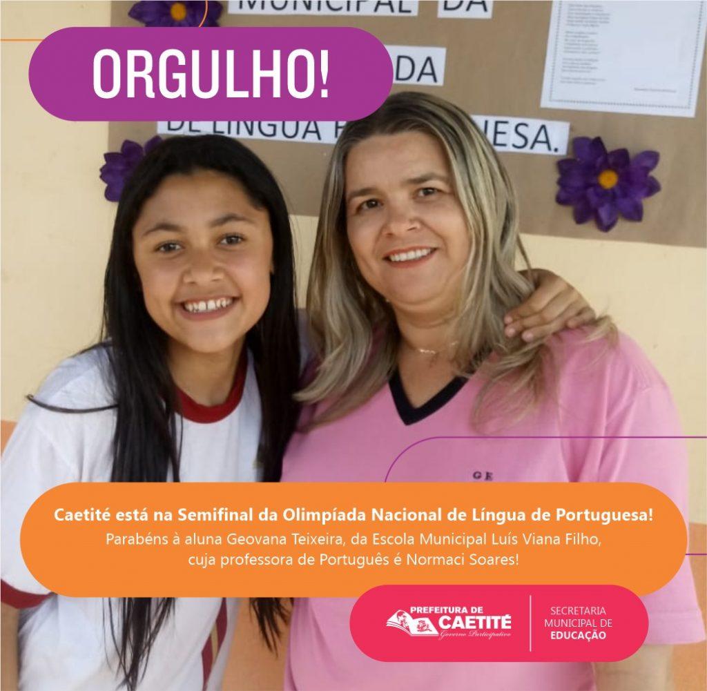 Caetiteense de Santa Luzia é Semi Finalista na Olimpíada de Língua Portuguesa, com grandes chances de chegar a etapa Nacional