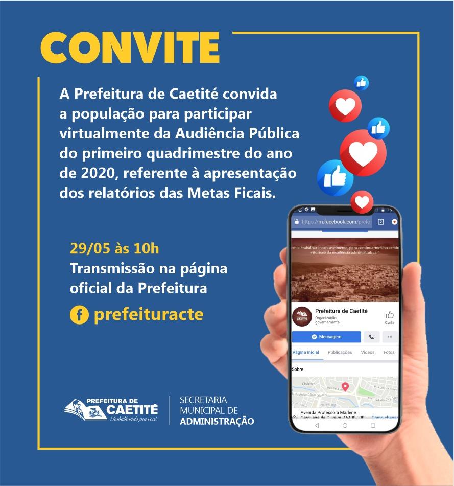 Prefeitura de Caetité realizará audiência pública do primeiro quadrimestre pelo Facebook