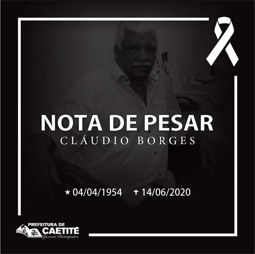Nota de Pesar pelo falecimento do Vereador Cláudio Borges